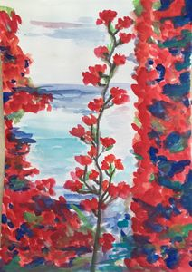 Red Flowers by the Sea