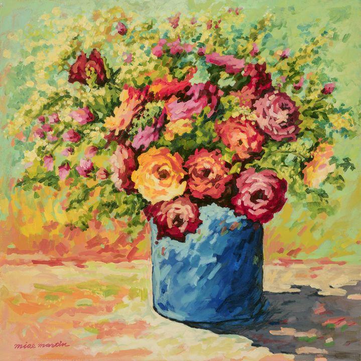 FLOWERS IN BLUE VASE - MIAE MARTIN
