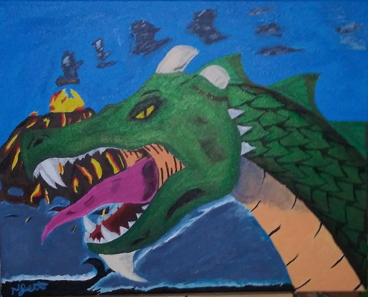 Dragon and volcano - Jett paintings