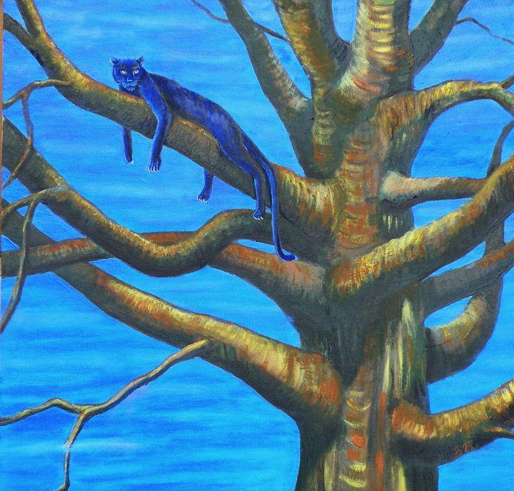Panther in Tree - Zachia Middlechild Art
