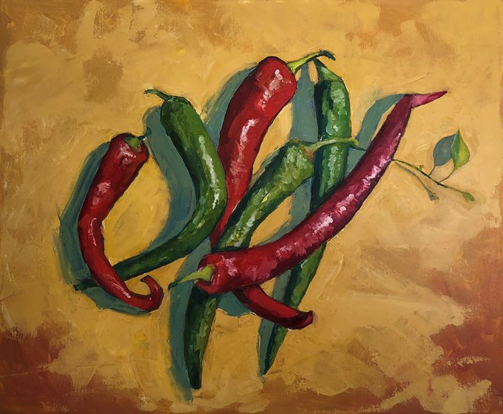Six peppers - Hal Sadler Fine Art