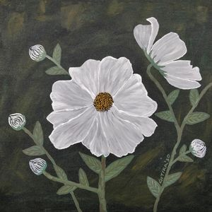 Cosmic White Flowers