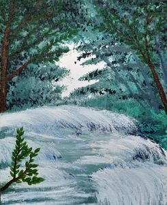 Waterfall - Gushing Stream - Gitika Singh's paintings