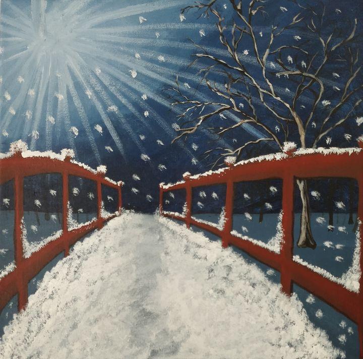 Moonlight Winter Scenery - Gitika Singh's paintings