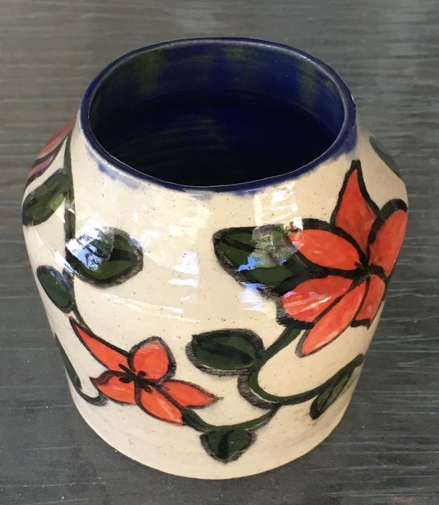 Redflowered vase - Http:/ArtPal.com/Smoakmule