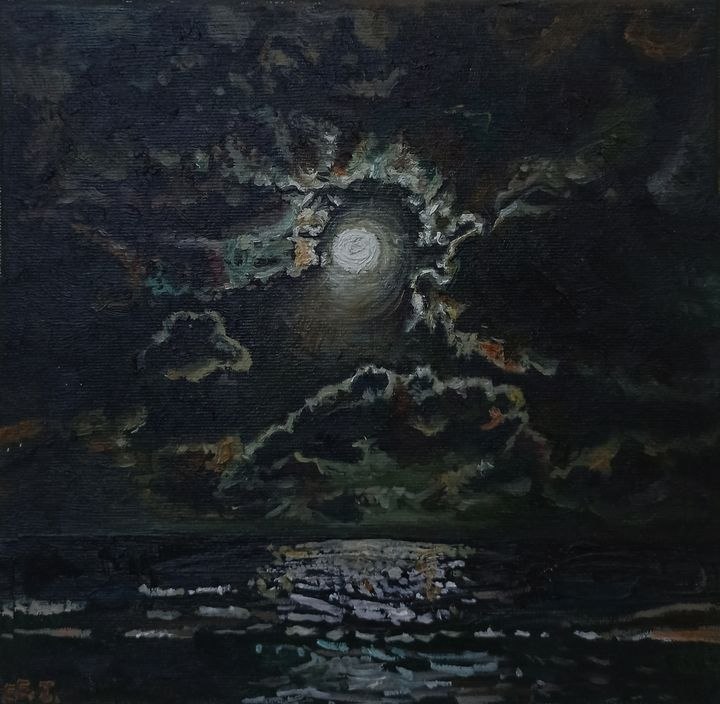 Full Moon above the Sea - elvi.art