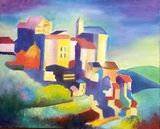 City on a Hill - Oil Painting