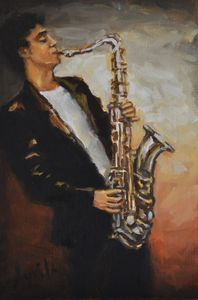 Saxophonist in Black