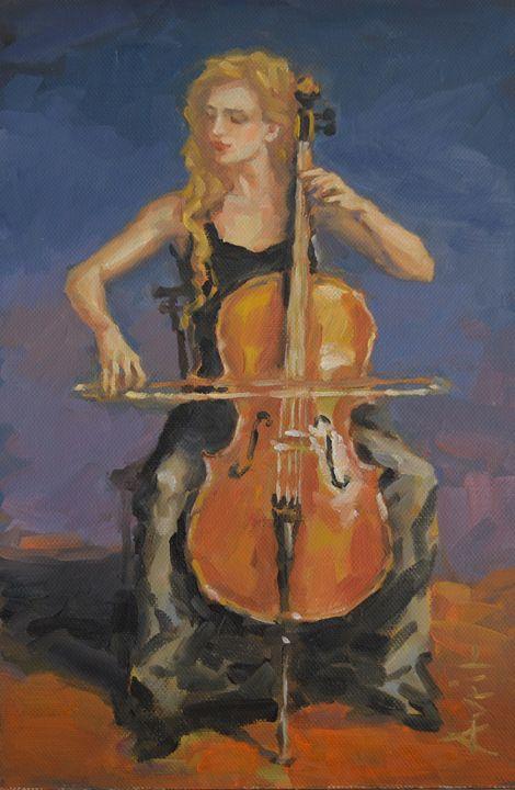 Cellist in Black - Avril Hattingh