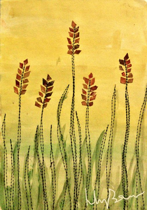 Stitch Collage Grass - Lily Bowler Art