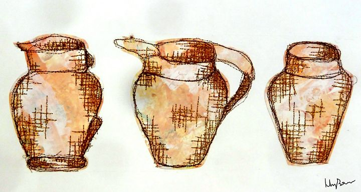 Stitch Collage Jugs/Vases - Lily Bowler Art