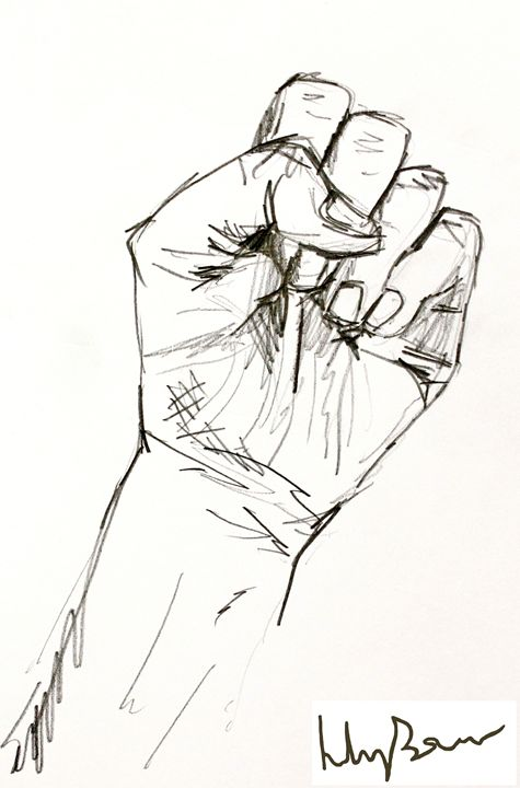 Clenched Fist Drawing - Lily Bowler Art