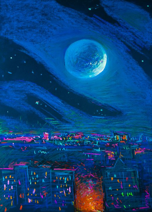 Moon over the City - Expressionism