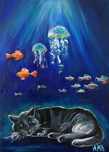 Two goldfish and black cat