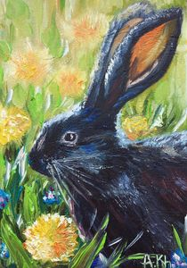 May bunny and dandelions