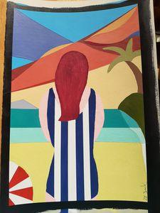 Redhead on the beach on Maui