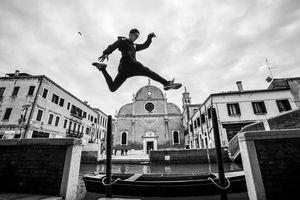 Long jump in venice