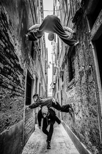 Climbing tight streets of Venice