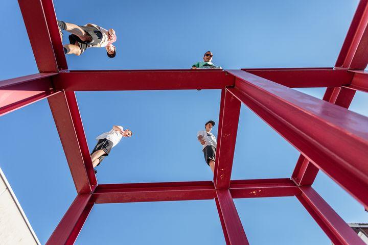 Parkour athletes on top of metal - Dalibor Balic