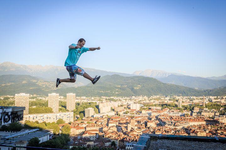 Parkour Athlete jump on roof - Dalibor Balic