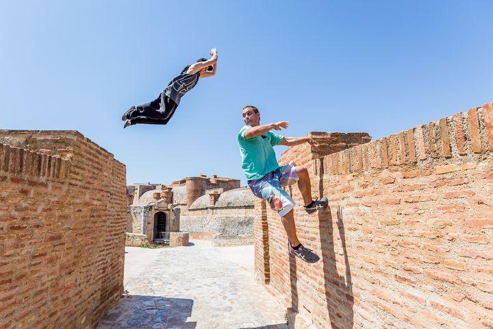 Parkour Athletes jump on castle - Dalibor Balic