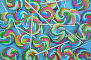 Colorful swirl lollipops