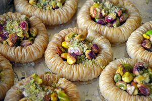 Freshly made baklava pastry