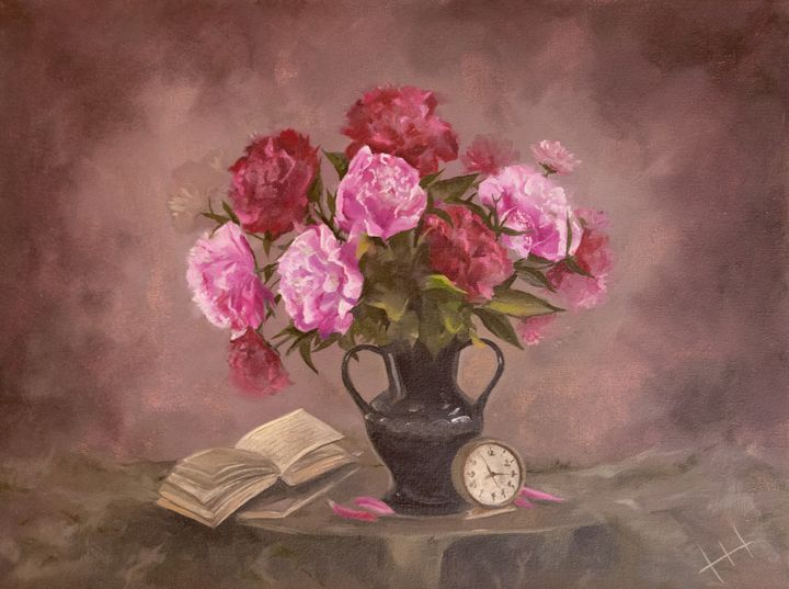 Painting Stillife Peonies - ZhannaZakharchenko