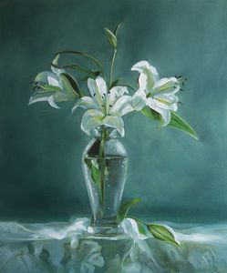 Painting still life lily