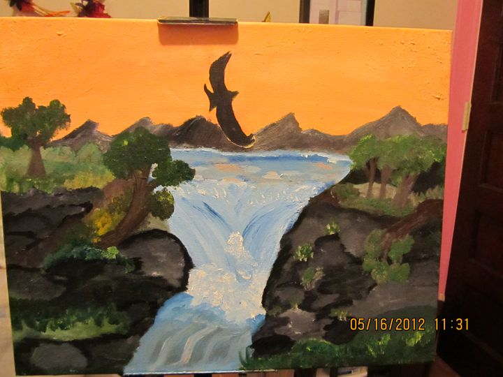 Original Sunrise Waterfall painting - Random Wishes