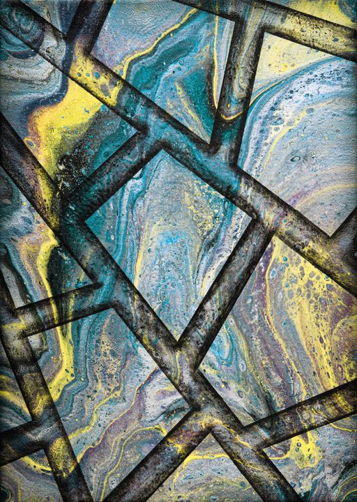 Cyan marble flow - Ali Coull - Abstract Art