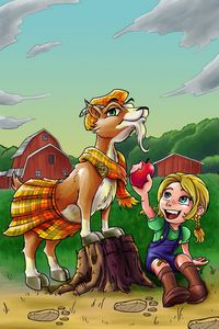 Cartoon characters (animal/child)