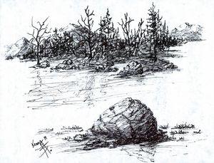 Last rock before shore