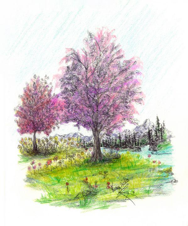 Purple tree in spring time - themontanascribbler
