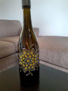 Yellow flower wine bottle