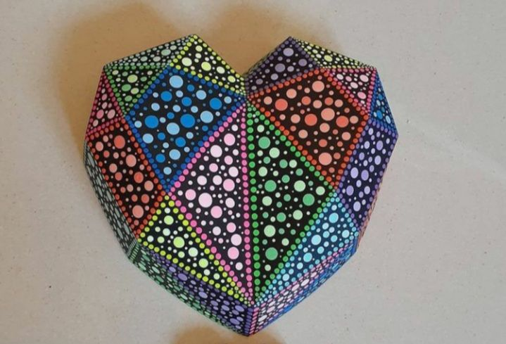 3D Large Geometric Shape Heart - kelly G