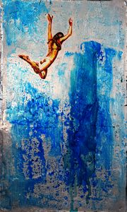 JUMP PAINTING ON SILVER LEAF METAL