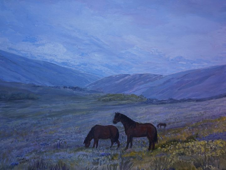 Dartmoor Ponies 2 - Artist Janet Davies