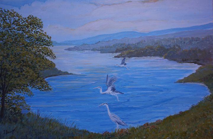 Herons On The Lake - Artist Janet Davies