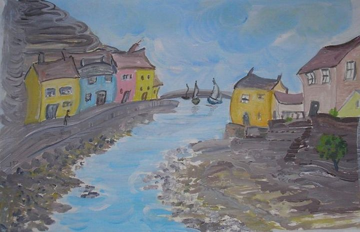 Beside The Sea At Staithes - Artist Janet Davies