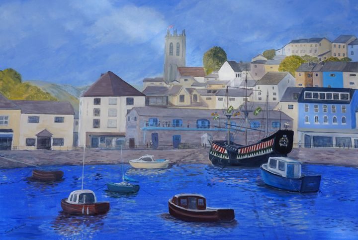 Golden Hind Brixham - Artist Janet Davies