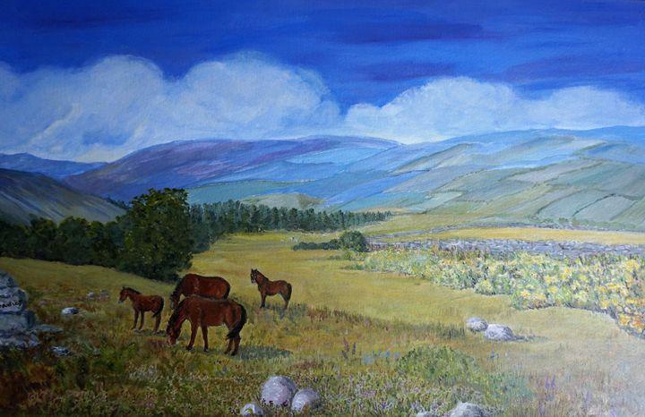 Ponies On The Moor - Artist Janet Davies