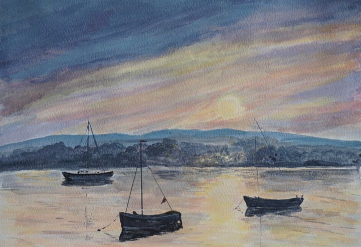 Boats At Sunset - Artist Janet Davies