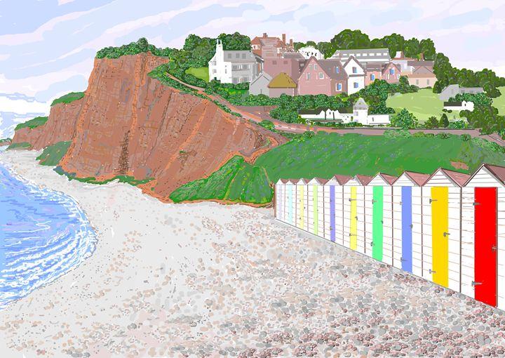 Beach Huts At Budleigh Salterton - Artist Janet Davies