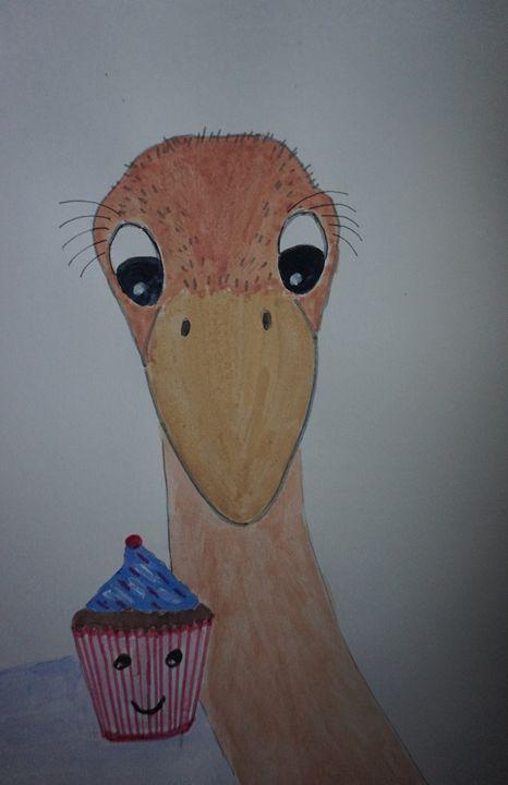 Ostritch with Cupcake - Artist Janet Davies