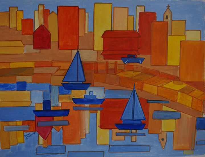 Modern And Square Harbor - Artist Janet Davies