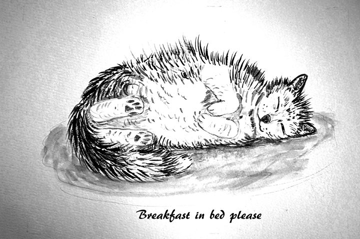 Breakfast In Bed Please - Artist Janet Davies