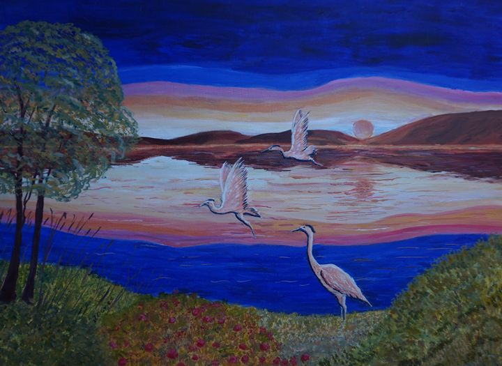 Herons At Sunset - Artist Janet Davies