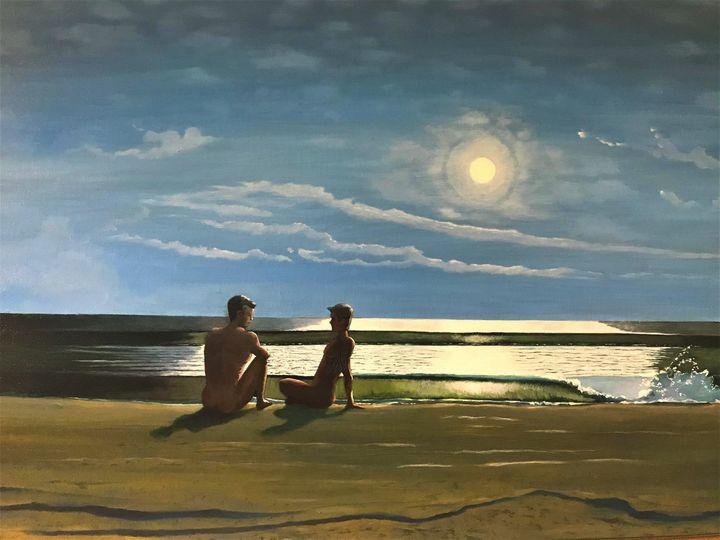 Midnight on moonlit Beach - Richard Pascacio Gomez