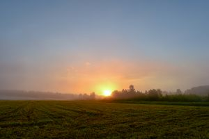 Sunrise in the blue sky over a field